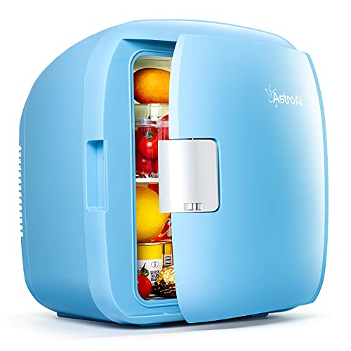 AstroAI Mini Fridge, 9 Liter/12 Can Skincare Fridge AC/DC Small Refrigerator Portable Thermoelectric Cooler and Warmer for Skincare, Foods, Bedroom, Mother's Day Gift Blue