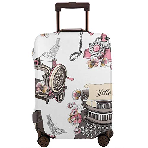 Travel Suitcase Protector,Seamless Pattern with Image of A Vintage Typewriter Sewing Machine Camera Box Telephone Cherry Flowers and A Birds,Suitcase Cover Washable Luggage Cover XL