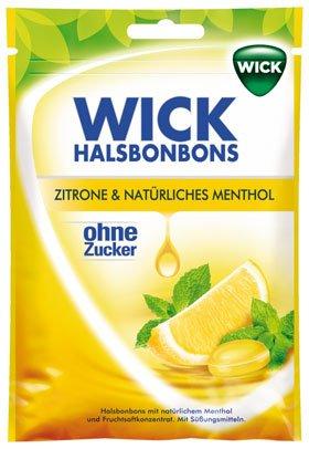 Wick Naturplus Zitrone & Natürliches Menthol, Halsbonbons ohne Zucker - 72gr - 2x