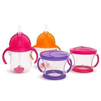 Munchkin Happy Snacker Snack Catcher & Sippy Cup Set 4 Pack Pink/Purple/Orange