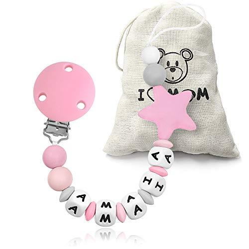 RUBY - Chupetero Personalizado para Bebé con Nombre Bola Silicona Antibacteriana con Pinza Acero Inoxidable, Chupetero Estrella (Rosa)
