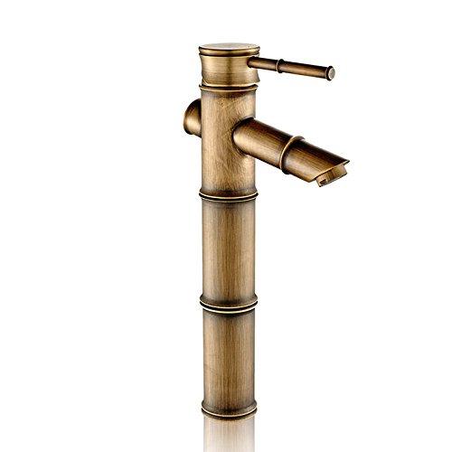 Retro Deluxe Faucetinging bamboe vorm DIY antieke brons koper badkamer wastafel kraan bekken mixer waterkraan enkele handgreep/gat