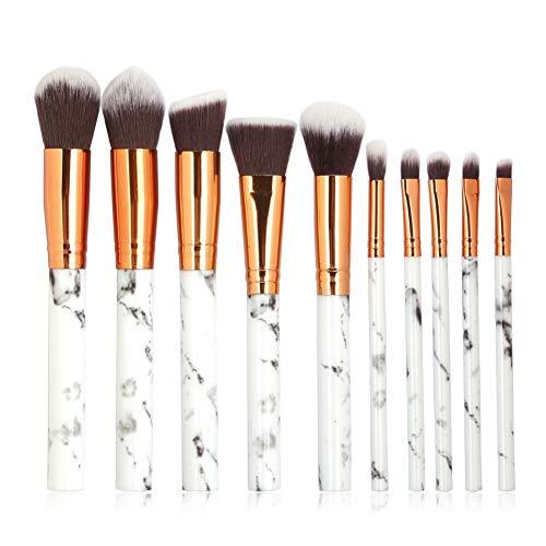 weixinbuy Professional Makeup Brushes Marbling Handle Makeup Base Eyeshadow Lip Brush Beauty Tools-10pcs/Set