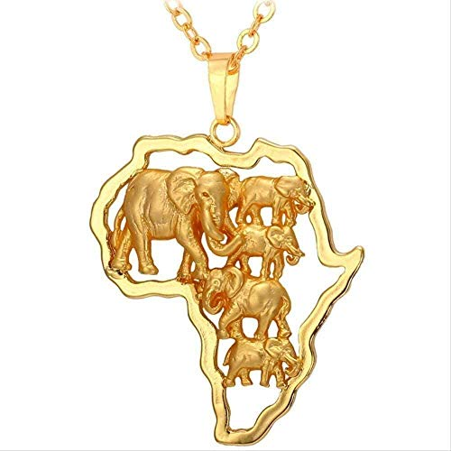 MGBDXG Co.,Ltd Collar de Elefante Africano de Color Dorado para Hombres/Mujeres, Colgante de Mapa Africano y Cadena, Collar de Fiesta de joyería de Animales