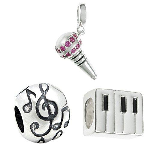 Queenberry Juego de abalorios de plata de ley con micrófono + piano + nota de música G, clave de estilo europeo