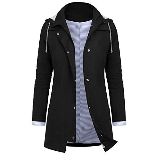 Yowablo Windbreaker für Damen Übergangjacke Lange Regenjacke mit Kapuze, atmungsaktiv Jacke Mantel Outdoor Jacke (M,5- Schwarz)
