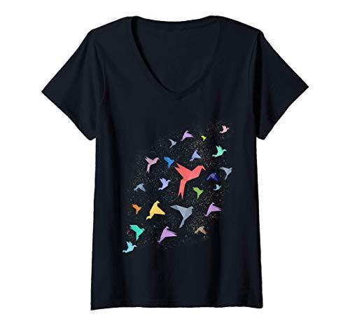 Mujer Grullas de origami Pájaros de origami japoneses Camiseta Cuello V
