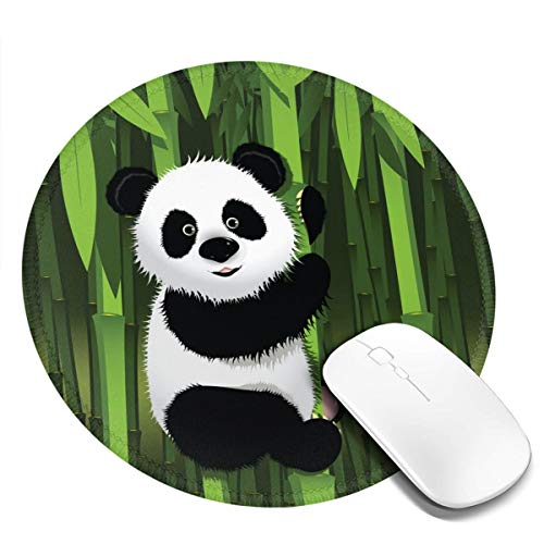 Curious Baby Panda on The Bamboo Round Mouse Pad with Stitched Edge for Women, Non-Slip Rubber Base Mousepad, Customized Gaming Mousepads for Computer Laptop, 7.9 x 7.9 Inch