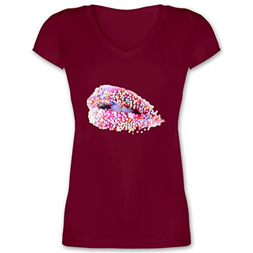 Statement - Candy Lips Lippen Zucker Mund - XXL - Bordeauxrot - Lippenstift - XO1525 - Damen T-Shirt...