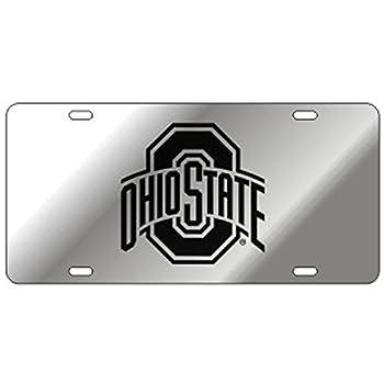 Craftique Ohio State Mirror Laser Cut License Plate - Black Logo