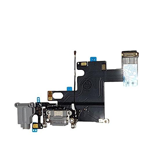 Smartex Conector de Carga de Repuesto Compatible con iPhone 6 6G Gris Oscuro – Dock de repeusto con Cable Flex, Altavoz, Antena, Micrófono y Conexión Botón de Inicio.