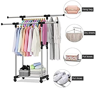 Ginoya Brothers Stainless Steel Telescopic Drying Racks Balcony Double Pole Floor Drying Home Living Room Bedroom Hangers Coat Rack Clothes Rod