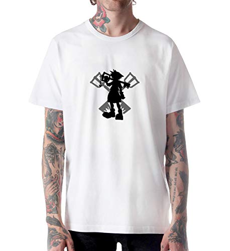 GlamourLab Kingdom Hearts Sora Silhouette_A1329 for per Uomo Man Shirt T-Shirt Tshirt T Shirt Gift for Him Her Funny Present - L White per Uomo's