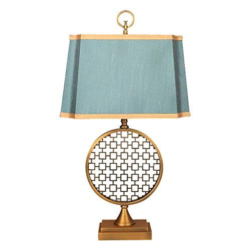 Lampara Mesilla de Noche Lámpara de mesa Nuevo chino clásico de hierro forjado tejido de la habitación lámpara de cabecera sala de mesa retro Lámpara con interruptor de botón Lámpara de Escritorio