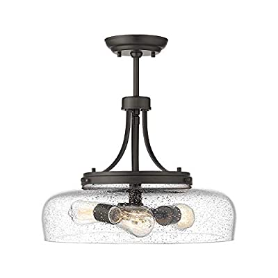 Eapudun Farmhouse Semi Flush Mount Ceiling Light Fixture, 3-Light Industrial Pendant Light in Oil Rubbed Bronze Finish with Clear Seeded Glass Shade, SMA1126-ORB