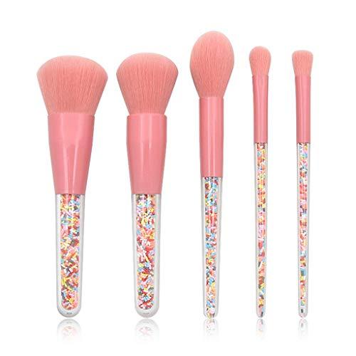 CarJTY Pinceaux de Maquillage Set de 12 Pièces Premium Coloré Fondation Blush Visage Poudre Brosse Granule Manche Transparent
