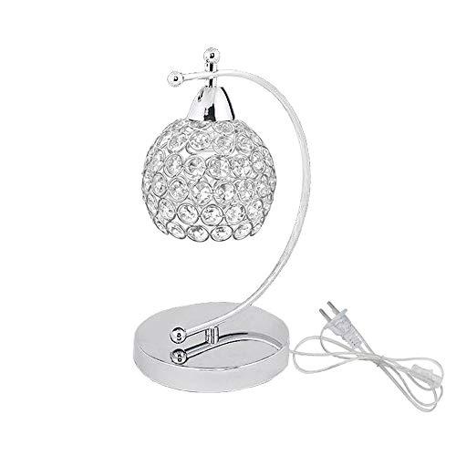 Onerbuy Lámpara de mesa de cristal moderna Enchufe en la mesita de noche Lámpara de escritorio de mesita de noche de plata cromada con interruptor de encendido/apagado en línea