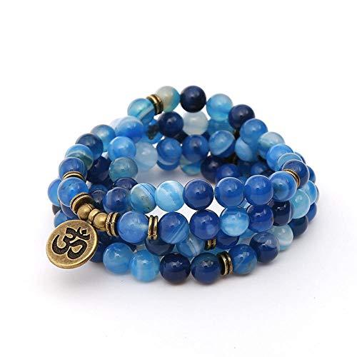 THTHT Fashion Armband 108 Kralen Handgemaakte Kralen Heren Dames Ketting Aquamarijn Kralen Eenvoudige Persoonlijkheid Mode Sieraden Retro