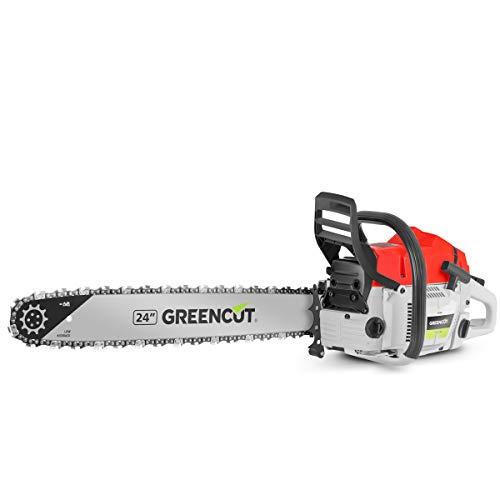 GREENCUT GS750X - Motosierra de gasolina con motor de 2 tiempos 75cc y 4,8cv con espada de 24'', Arranque Easy-Start, Sistema Anti-Vibración, Tecnología TRU-SHARP
