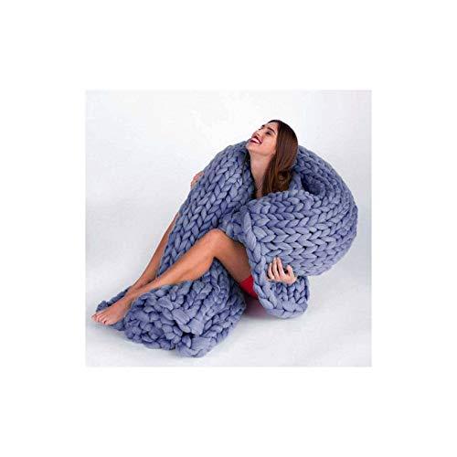 Manta gruesa de punto, extra suave y acogedora manta de franela cálida y transpirable para sofá de dormitorio, sofá, regalo, azul cielo, 100 x 120 cm
