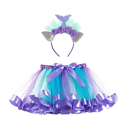 Daygeve Mädchen Tutu Rock, Kinder Prinzessin Gaze Minirock Party Dance Ballett Baby Rock + Stirnband Set für 2-11 Jahre