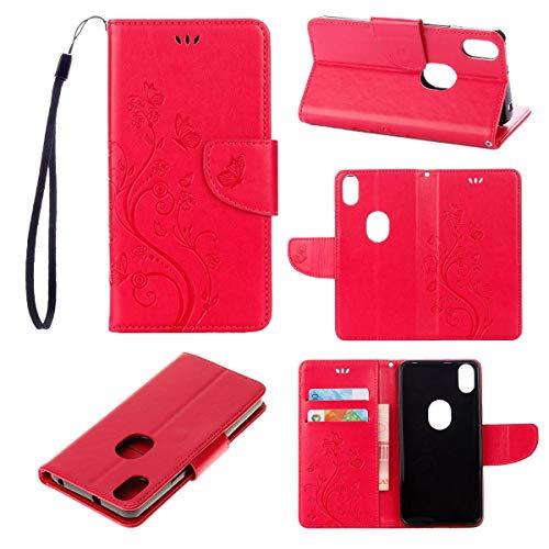 tinyue® BQ Aquaris X5 Plus (5 Pulgada) Funda, Cubierta de Billetera de Cuero PU Tapa abatible Funda, Mariposa en Relieve de Vid Cover, para BQ Aquaris X5 Plus (5 Pulgada), Rosa roja