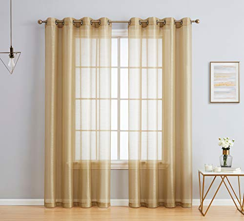 HLC.ME 2 Piece Semi Sheer Voile Window Curtain Grommet Panels for Bedroom & Living Room (54' W x 95' L, Taupe)