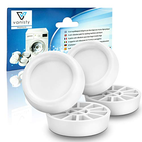 Vanisty - [4x] Amortiguador de vibraciones universal fabricado en Europa para lavadoras y secadoras - Antideslizante Antivibración, amortiguador de vibración - Pies de goma para lavadoras