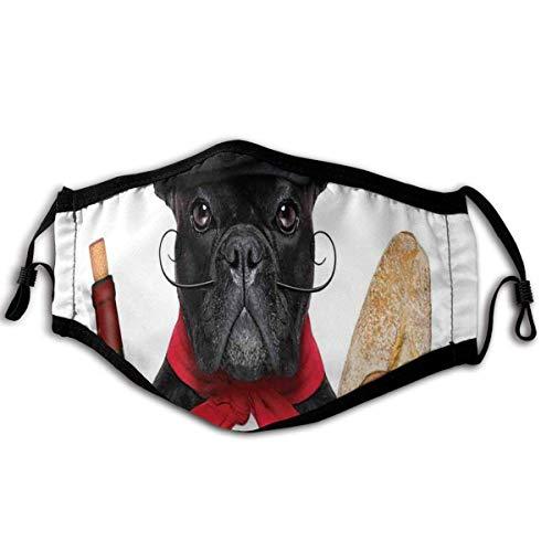 Protección facial, perro francés en un sombrero con vino tinto y pan baguette Gourmet Parisienne Animal, pasamontañas resistente al viento y al polvo