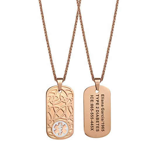 MunsteryAid Customize Medical Alert Celtic knot Dog Tag Necklace with Free Engraving for Men Women, Personalized Emergency Identification ID Necklace,Rose Golden Color,4 Color Option (White)