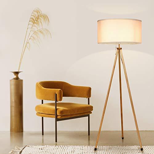 Albrillo Klassik Stehleuchte - Moderne Stativ Stehlampe mit Holzmaserung und Weiß Lampenschirm, 156 cm Höhe E27 Standleuchte, Perfekt dekorative Lampe für Wohnzimmer, Schlafzimmer, Büro, Weiß