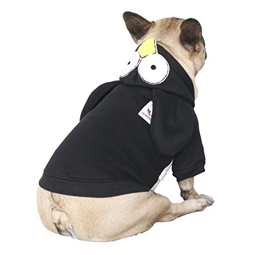 iChoue Penguin Dog Costumes Hoodie Warm Coat Winter Clothes for French Bulldog Frenchie Shiba Inu -Black Penguin/M