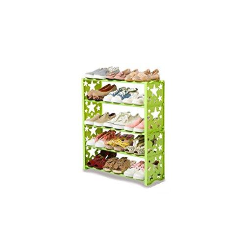Yxsd Estantes pequeños para Almacenamiento de bastidores de Zapatos en casa, con Capacidad para 15 Pares de Zapatos 60 x 19 x 70 cm Tubos de Acero Inoxidable Estilo Estrella (Color : Green)