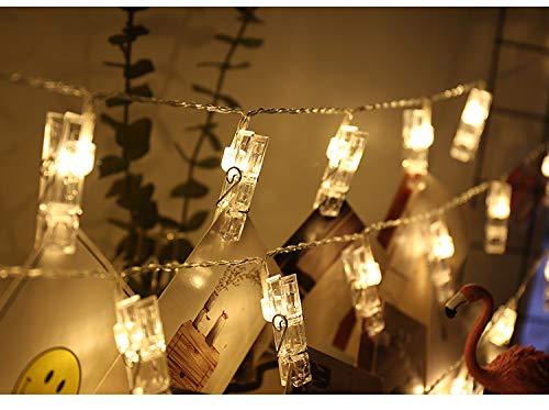 JUNSHUO LED Foto Clip Lichterketten, 5M 50 LED Foto Clips, Fernbedienung Lichterkette Fotolichter Kette Clip, USB oder Batteriebetrieben für Zimmer Deko, Weihnachten, Fotos Wand, Hochzeit