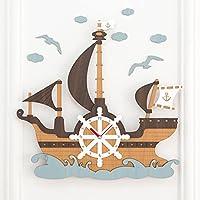 海賊船の掛け時計、サイレントスイープムーブメント、児童画時計、男の子女の子子供部屋用