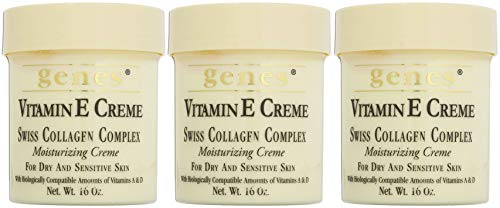 Genes Vitamin E Creme Swiss Collagen Complex for dry and sensitive skin 16 oz, Pack of 3
