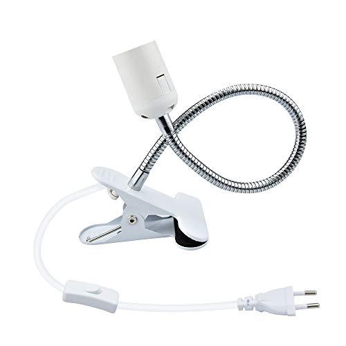 Bonlux E27 douille d'ampoule à pince avec interrupteur base clip de lampe pour table avec col de cygne 360 degrés pour lampe des plantes, aquariums, table, maquillage, lecture de nuit, etc(1pcs)