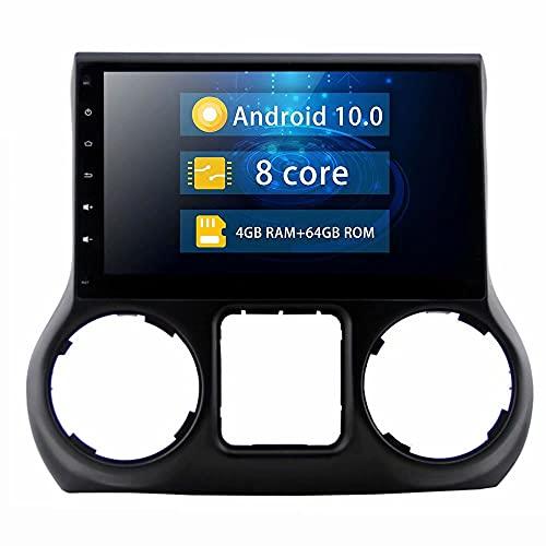 ROADYAKO 10.1Inch Indash Android 10.0 Car Head Unit Radio estéreo para Jeep Wrangler 2011 2012 2013 2014 Navegación GPS automática Soporte Multimedia SWC con 4G WiFi Blutooth RDS FM Am Audio