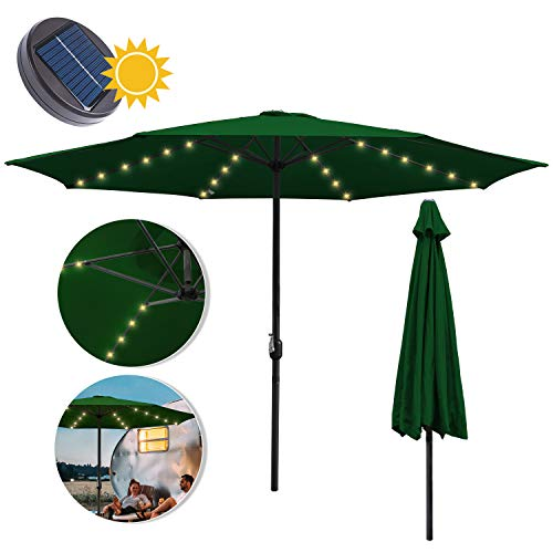 wolketon Sonnenschirm Ø300cm Alu Marktschirm Gartenschirm mit Warmweiß Solar-Beleuchtung Terrassenschirm UV Schutz 30+ Kurbelschirm