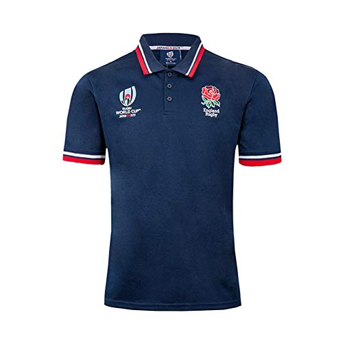 LQWW 2019 National Team Fan T-Shirt Football Clothing England Rugby Jersey World Cup Polo Football Clothing,Blue,XL