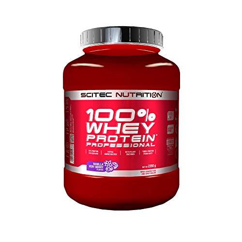 Scitec Nutrition 100% Whey Protein Professional con aminoácidos clave y enzimas digestivas adicionales, 2.35 kg, Vainilla con frutas del bosque