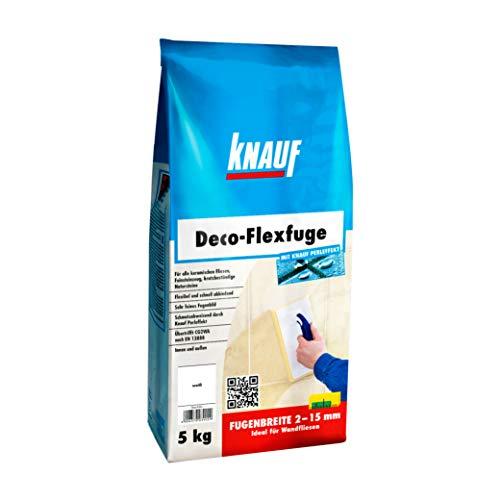 Knauf Deco-Flexfuge – Wand Fliesen-Mörtel auf Zement-Basis: pflegeleicht dank Knauf Perleffekt, schnell-härtend, passend zur Fliesenfarbe, Weiß, 5-kg