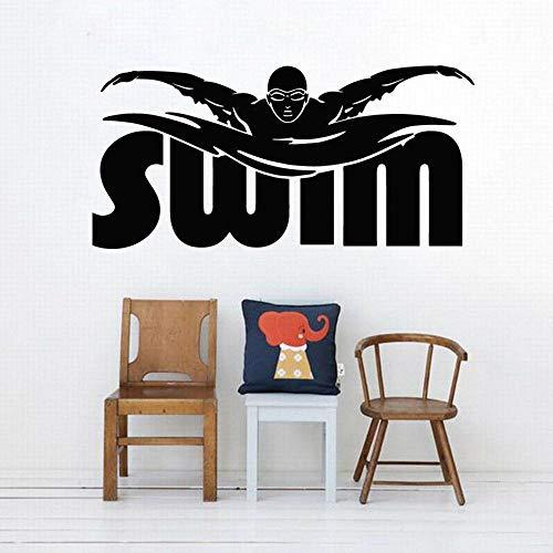 Jugador de natación Muro decorativo niños baño deportes atlético pegatina de vinilo para la decoración del gimnasio Palabras de nadadores-86x42cm