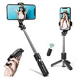 Mini Palo Selfie Trípode,Asnoty Extensible Bluetooth Selfie Stick y Soporte de trípode de teléfono con Control Remoto inalámbrico Desmontable Compatible con iPhone 12 11 Pro XR MAX, teléfonos Android