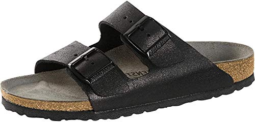 BIRKENSTOCK Arizona Naturleder schmal Pantolette, Schwarz (Washed Metallic Antique Black), 43 EU