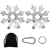 18-in-1 Snow Multi-Tool, Easy N Genius Stainless Steel Snowflake Screwdriver Multitool Great Christmas Gift(2 pcs, silver)……