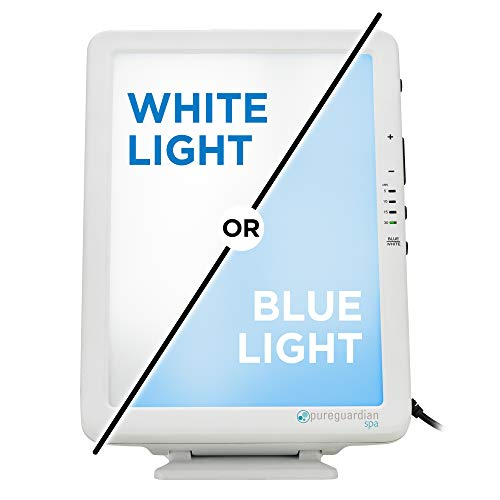 Pure Guardian SPA50CA Portable Tabletop Energy Light, Full Spectrum, 10,000 LUX, 30W LED, Improve Your Mood, Focus, Energy Levels, Blue or White Light Therapy Intensity, Adjustable Time Settings