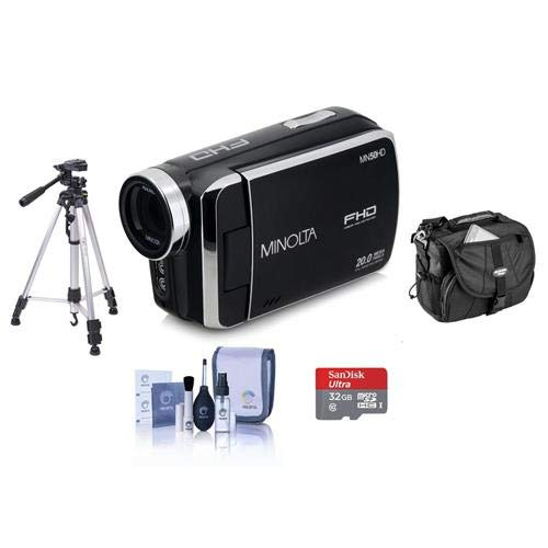 Minolta MN50HD 1080p Full HD 20MP Digital Camcorder, Black - Bundle with 32GB MicroSDHC Card, Video Case, Tripod, Cleaning Kit