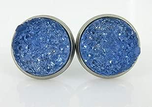 Stainless Steel Glacier Blue Faux Druzy Stone Stud Earrings 12mm