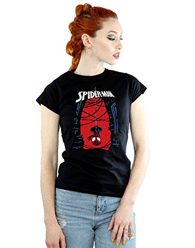 Marvel mujer Spider-Man Hanging Sketch Camiseta Small Negro